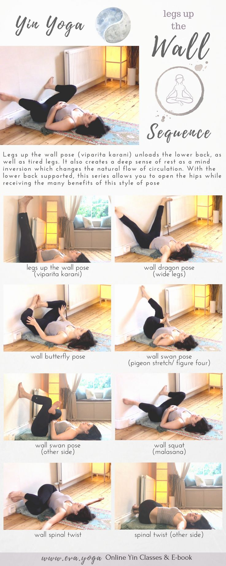 Yin Yoga Practice at the Wall! Grounding & restoring practice to stretch connective tissue & release stress. Class Theme & Sequence Yin Yoga sequences & inspiration for teachers & students! Online classes & ebook available now: https://www.eva.yoga/writing-resources https://app.namastream.com/#/evayoga/product/1983/recordings  www.eva.yoga