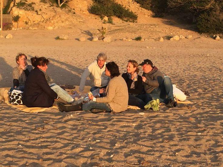 coaching sessie op het strand