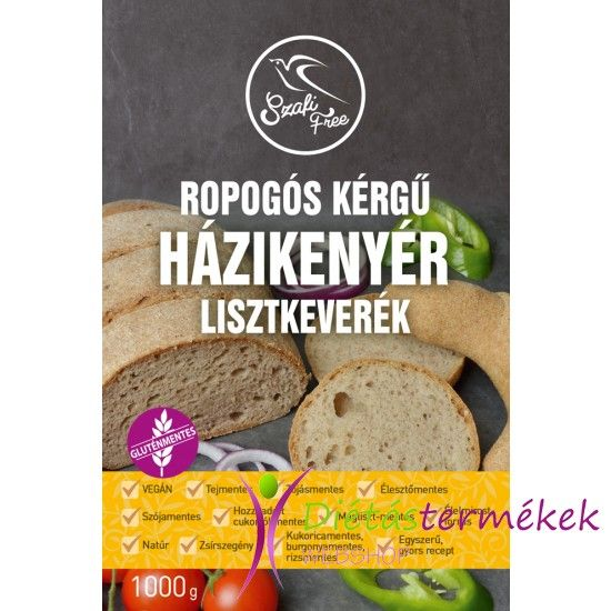 Szafi Free Ropogós kérgű házikenyér lisztkeverék 1000g (gluténmentes, tejmentes, tojásmentes, élesztőmentes, olajmentes, vegán)