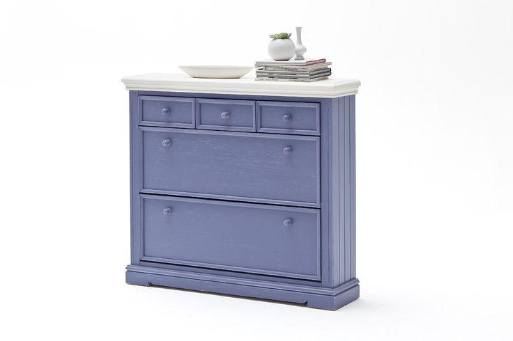 Schuhschrank LaMer II Brilliantblau Passend zum Möbelprogramm LaMer 1 x Schuhschrank mit 3 Schubkästen und 2 Klappen Maße: B/H/Tca. 125 x 110 x 30 cm...  #flur #schuhschrank
