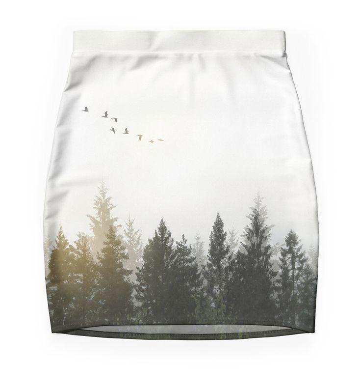 Forest Skirt by Nicklas Gustafsson #nature #forest #landscape #photography #digitalmanipulation #doubleexposure #birds #serene #calm #skirt #fashion #apparel