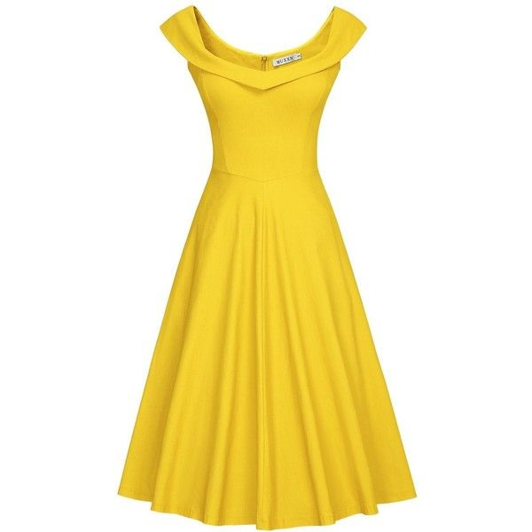 MUXXN Womens 1950s Scoop Neck Off Shoulder Cocktail Dress(M, Pure... ($33) ❤ liked on Polyvore featuring dresses, yellow, off shoulder cocktail dress, scoop-neck dresses, off the shoulder dress, scoop neckline dress and yellow cocktail dress