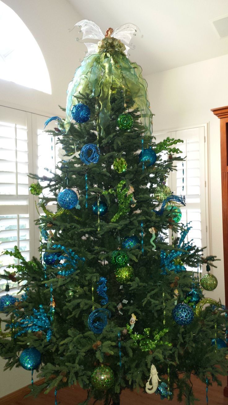 my mermaid christmas tree blue and lime green christmas trees pinterest blue and. Black Bedroom Furniture Sets. Home Design Ideas