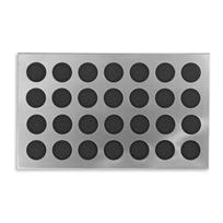 "Smooth steel delivers elegance and durability to our impressive modern doormats. Contemporary stainless steel doormats are a simple way to update the look of your entryway. The smart cutout of the stainless steel overlay lets the mat show through. Backed with durable, non-skid rubber. ""Rubber Circles"" surrounds rubber rounds with sleek steel."