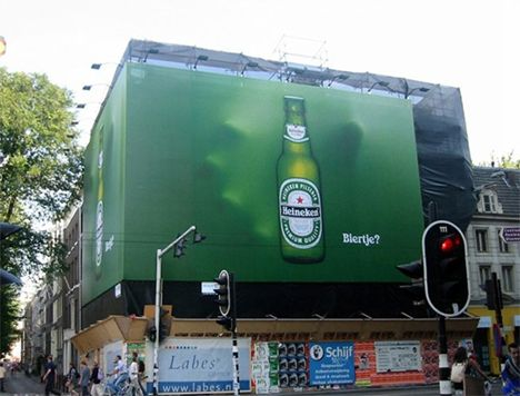 Heineken: note the 3D hand reaching from behind.