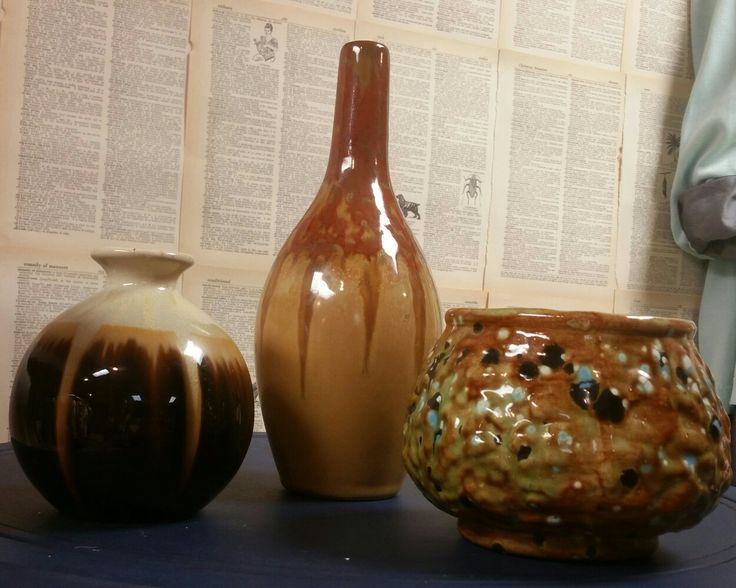 Mid Century Vases. I want to keep them ALL.  But I can't. Call 913 268 5393 to purchase.  #pottery #midcentury #vase #earthtones #ceramic #glaze #home #decor #modern #resale  #Encore #EncoreKC #KC #AbsolutelyTamara