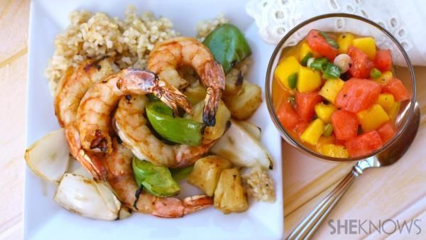 Make an extra-special meal using shrimp. This Sunday dinner recipe for tropical shrimp kebabs with spicy fruit salsa makes a great summer meal.