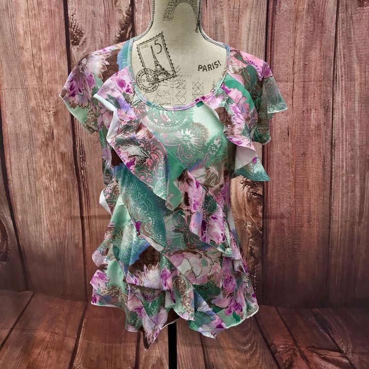 C.M.D FLORAL WOMENS FRILL TOP SIZE 14 SUMMER HOLIDAY PARTY PATTERN FLOWERS COOL
