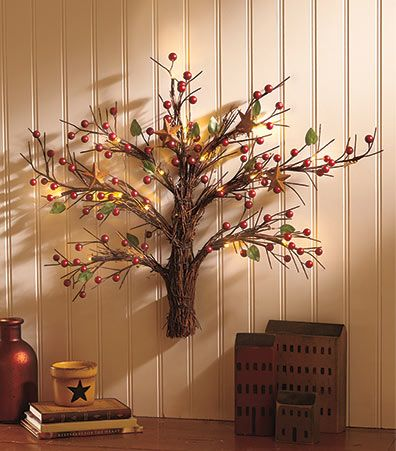 Add rustic artwork to any room by hanging this lighted country wall tree over a doorway couch or mantel wicker twigs are bound together in the shape of a