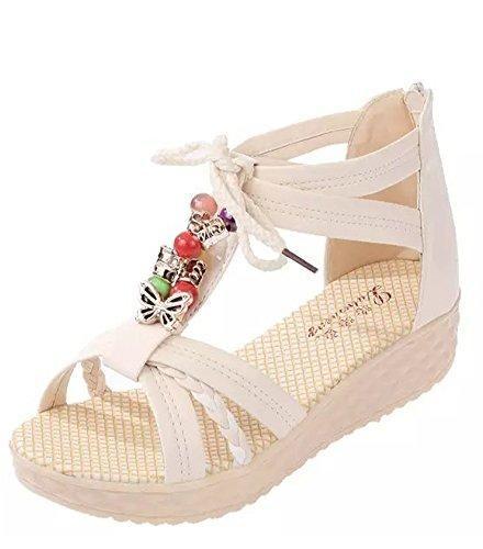 Oferta: 6.63€. Comprar Ofertas de Minetom Mujer Verano Dulce Bohemia Peep Toe De La Hebilla Plana Sandalias Abalorios Zapatos Chancletas Zapatillas Playa Beige barato. ¡Mira las ofertas!