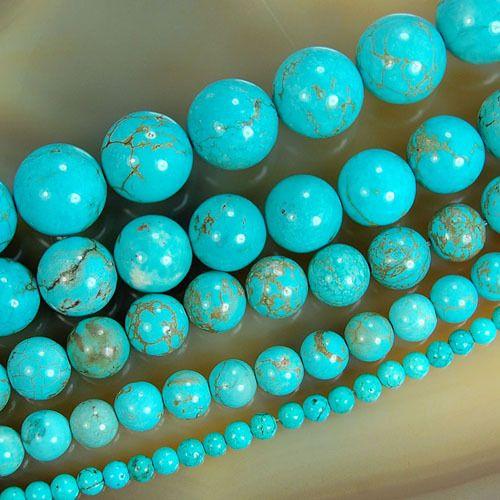 Оптовая Природных Каменных Бус Синие Бирюза Круглые Бусины Для Ювелирных Изделий делая 15.5 дюйм(ов) Выбрать Размер 4 6 8 10 12 14 мм (F00041)