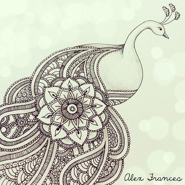 Paisley Peacock Illustration by Alexandra Frances. Instagram @alex_drawing mandala tattoo design