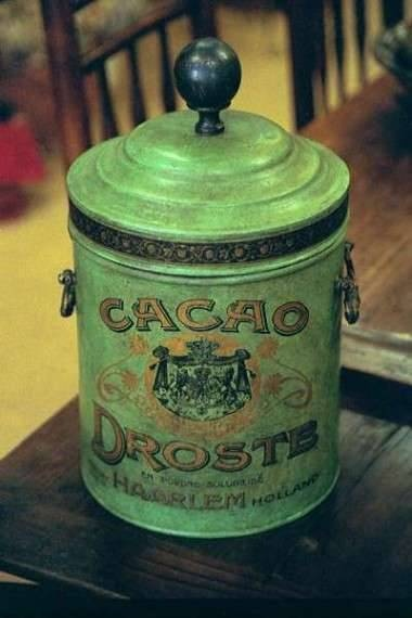 old green Droste cocoa tin