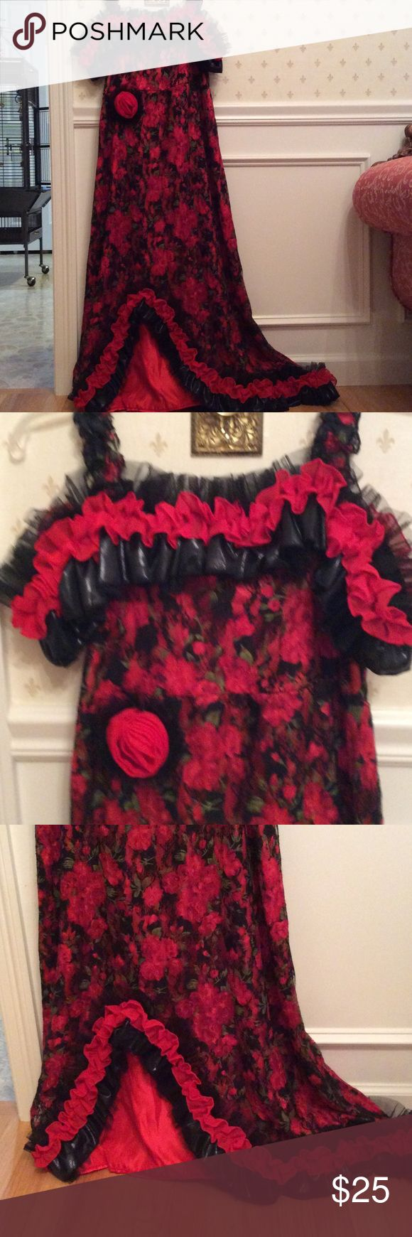 """Spanish Dancer Halloween Costume Dress Beautiful girls size XL Spanish Dancer dress.  Will fit womens small. Well made and great quality.  Fun fun fun. Length 45"""" from top to bottom. Can be worn off the shoulder or with straps Other"""