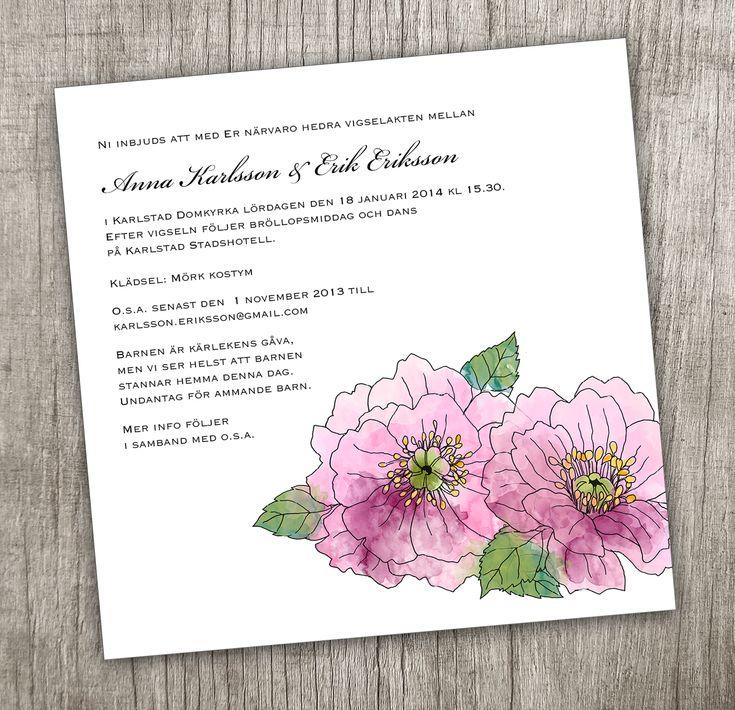 Inbjudningskort trädgårdspion #pion #bröllop #inbjudan #inbjudningskort #pioner #sommarbröllop Anna Göran Design - Enkla pioner