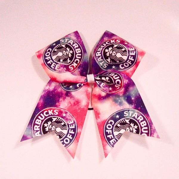 """Galaxy StarbucksCheer Bow - Chicago CubsThermal Print on Grosgrain Ribbon - 7"""" across by 8"""" down - Purchase 1 or more - Ask for pricing for team orders"""