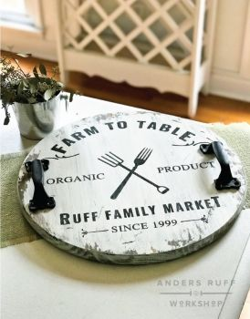 Farm to Table Wood Round Tray with Handles