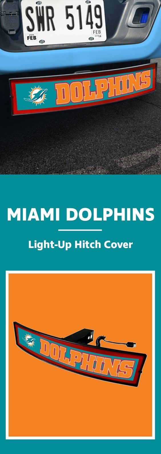 One of our new favorites! Light-up Hitch Cover - check out our site and find your favorite team. nfl, football, trucks, hitch, lets get hitched, lightup, dolphins, miami, miami beach, florida, dolphins football, florida football, cars, carshow, teal, orange, ncaa, orange state, fast, stop, beepbeep, traffic, commute, commuter