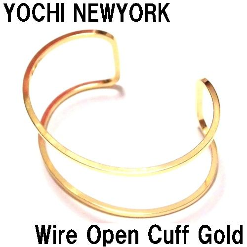 Yochi NEW YORK ヨキニューヨーク ワイドカフ Wire Open Cuff gold バングル ゴールド 真鍮 幅広 太 レディース シンプル ブレスレットバングル お洒落なバングル 金色 太め アクセサリー カフス かわいい 軽い おしゃれ 可愛い 海外ブランド 正規輸入品