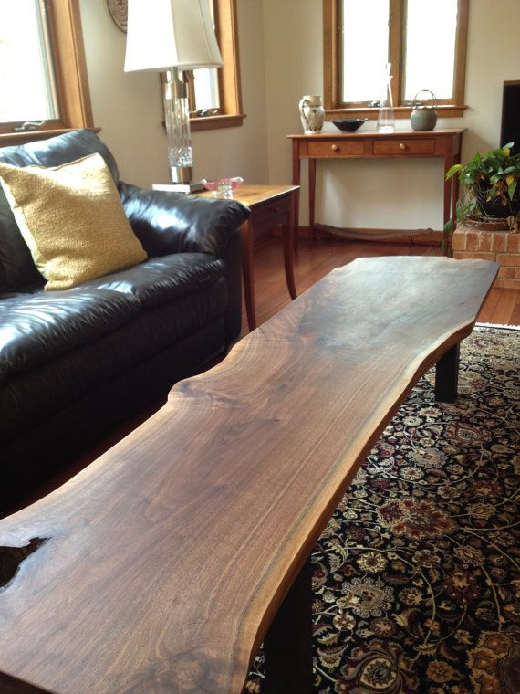 This is really awesome!! Black Walnut slab coffee table by KylesCustomWoodwork on Etsy, $1250.00