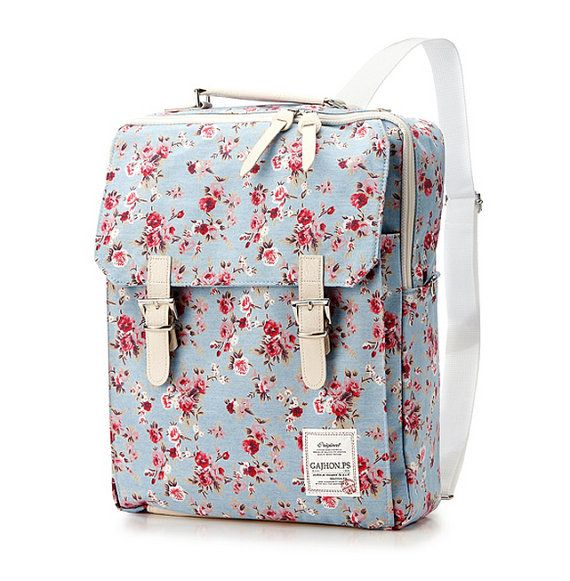 Flower Print Cotton Square Backpack 3 colors by BagDoRi on Etsy