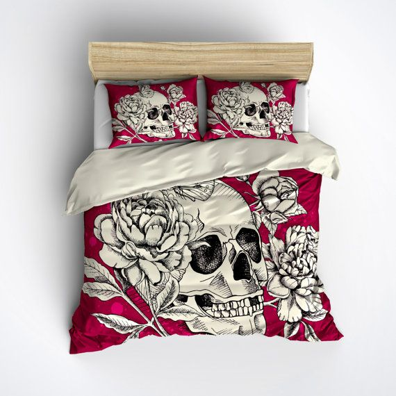 Hey, I found this really awesome Etsy listing at https://www.etsy.com/listing/246844697/featherweight-skull-bedding-deep-pink