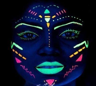 tinta líquida fluorescente 6 cores cítricas - neon facial Mais