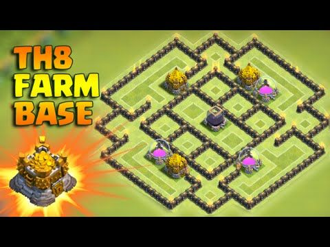 Clash Of Clans - NEW UPDATE - TH8 FARMING BASE 2016 - TH8 TROPHY BASE 20...