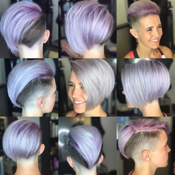 Short Sleek Edgy Undercut Bob on Purple Faded Hair