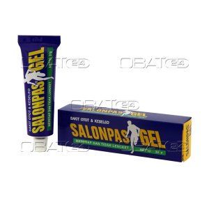 SALONPAS GEL  Komposisi : methyl salicylate 0.15 g, l-menthol 0.07 g  Pabrik : Hisamitsu