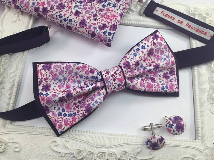 Set Noeud Papillon Double, Boutons de manchette et Pochette costume assortie Tissu Liberty Phoebe violet - Homme : Cravates par fleurs-de-provence