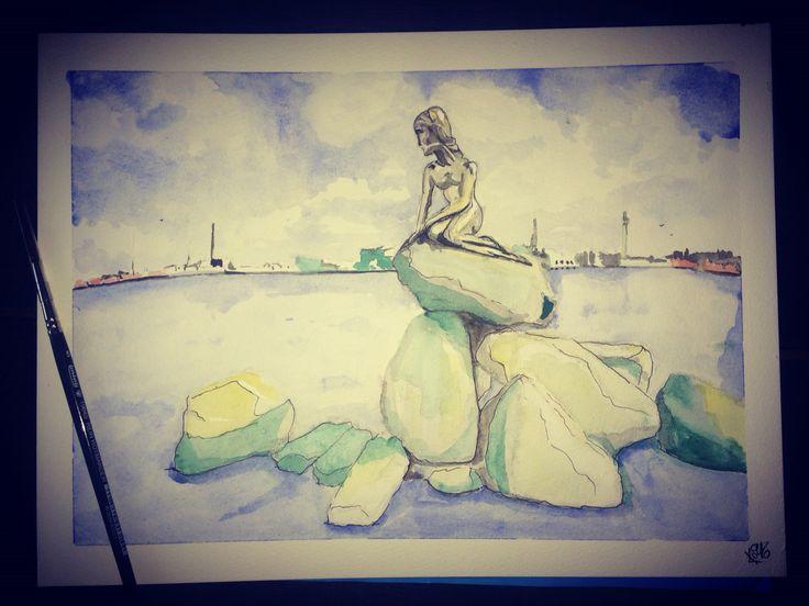 """""""Copenhagen oxygen"""" 24x32 watercolor"""