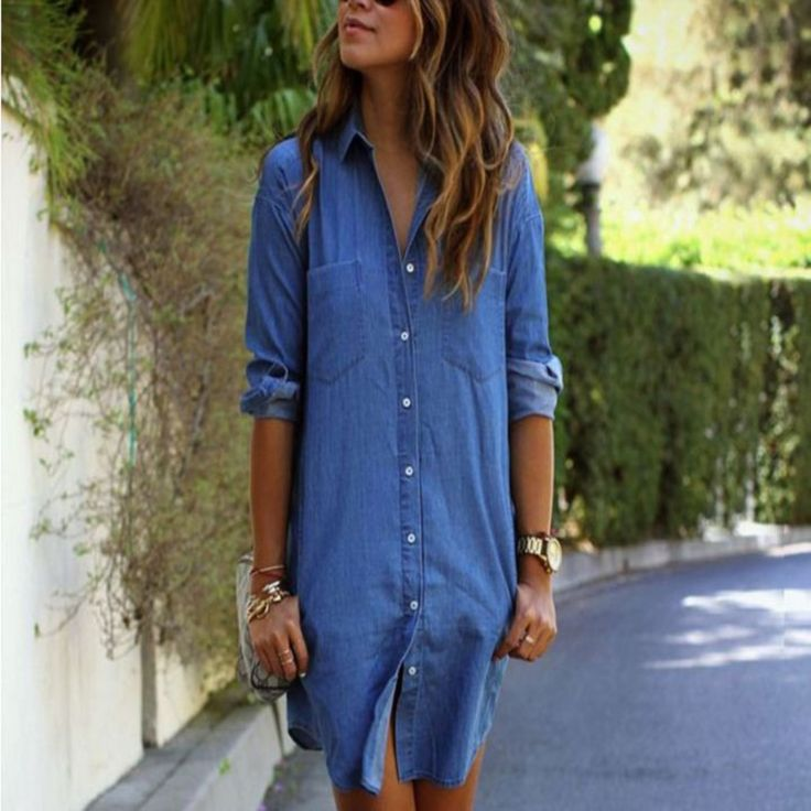 Blue Sexy Long Denim Shirt For Women