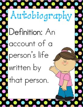 Autobiography writing with scaffolded writing -- pre-planning and writing, cover, and poster