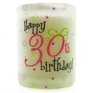 Happy 30th Birthday Vanilla Candle Votive This beautifully scented Happy 30th Birthday Vanilla Candle Votive is a wonderful gift for a special someone celebratingtheir 30th Birthday.The votive is made from frosted glass in a cylinder shape. http://www.comparestoreprices.co.uk/birthday-gifts/happy-30th-birthday-vanilla-candle-votive.asp
