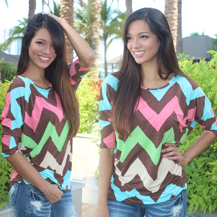 BEYOND BEAUTIFUL!! Take a look at our new Multi Color Brown Chevron Top! This stunning look features ¾ sleeves as well as relaxed fit. The chevron pattern is a perfect mix of brown, pink, blue, and green colors. Great to pair with jeans or leggings! See other cute chevron outfits at our trendy online boutique!