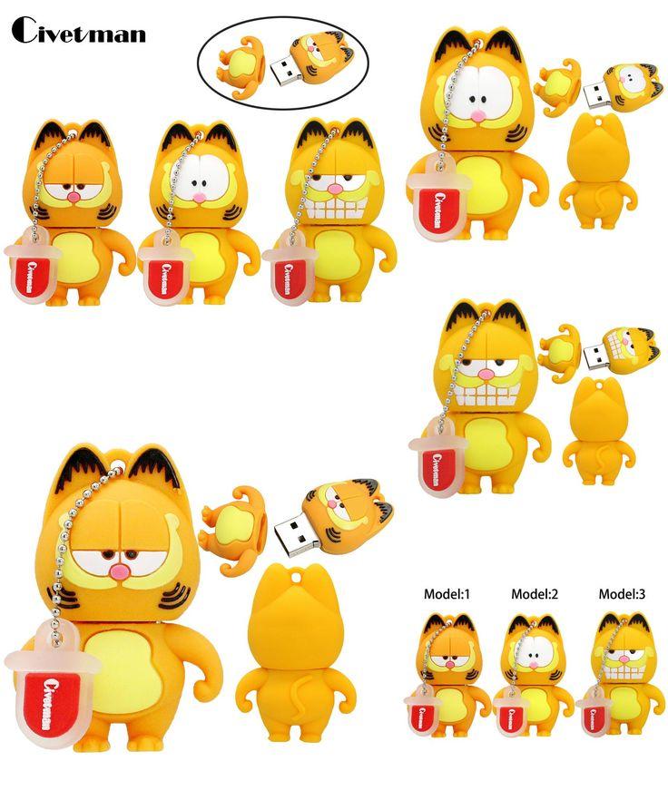 [Visit to Buy] Civetman Pen Drive Cartoon Garfield cat 4GB 8GB 16GB 32GB 64GB Usb Flash Drive Memory Stick Pendrive Pendriver Mini Gifts #Advertisement