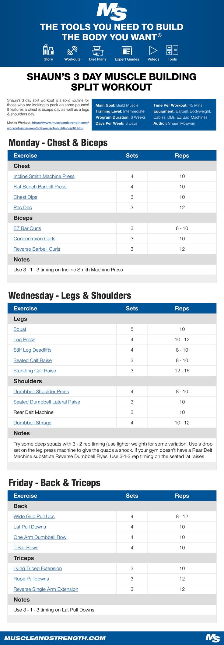 Shaun's 3 day split workout is a solid routine for those who are looking to pack on some pounds! It features a chest & biceps day as well as a legs & shoulders day.