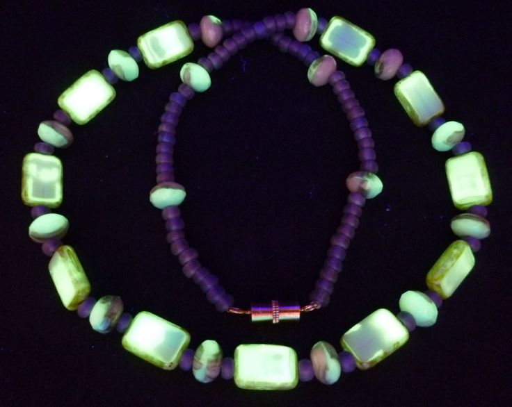 "17"" 430mm Czech Glass Beads Necklace Uranium Green Beige Vintage UV Glowing by MuchMoreThanButtons on Etsy"