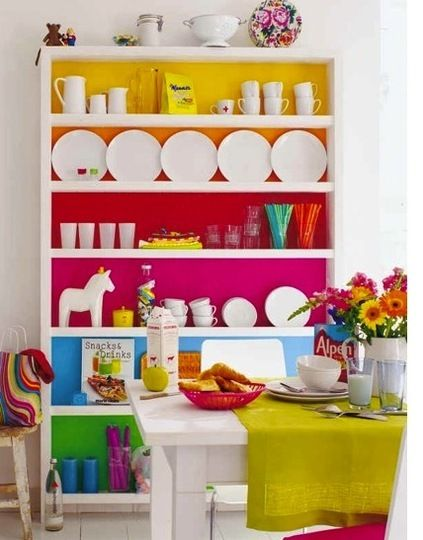 Paint the shelves in bright colours.