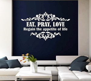 Eat pray love wall quotes decor wall stickers wall decals