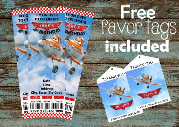 45 best Disney Planes Birthday Party images on Pinterest - airplane ticket invitations