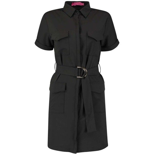 Boohoo Penny Pocket And Belt Detail Shirt Dress ($35) ❤ liked on Polyvore featuring dresses, buckle dresses, shirt-dress, belted dress, sleeve shirt dress and waist pocket belt