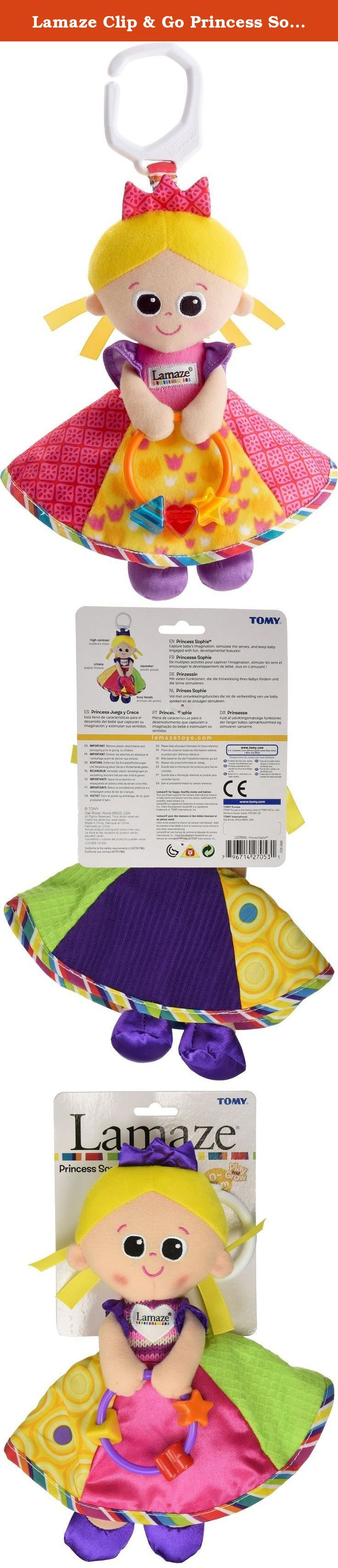 Lamaze Clip & Go Princess Sophie. Royalty never looked or felt so good as Princess Sophie. She holds her jewel clacking beads in her hands for baby to play with, and her skirt crinkles to keep baby's interest. Her bold colors and contrast prints help with visual stimulation and development. The high contrast patterns stimulate vision. It crinkles for auditory development. This is the perfect for baby's first doll. The bold colors and contrast prints help with visual stimulation and...