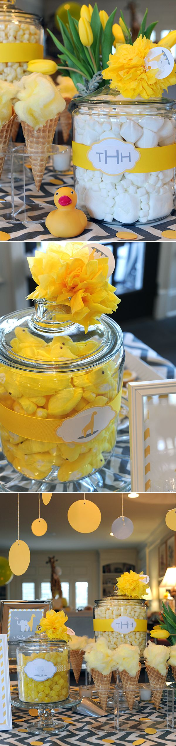 Love these Candy Jars at this Adorable Elephant and Giraffe Baby Shower—gray chevron with yellow rubber duckies, tulips, PEEPS and cotton candy served in waffle cones.
