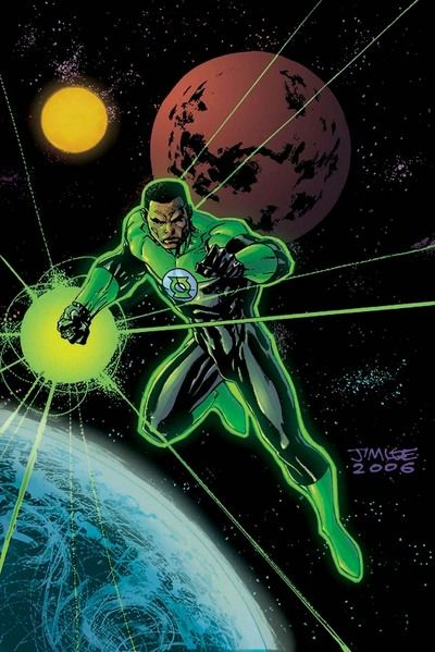 John Steward. The third human Green Lantern. Became Hal Jordan's temporary back-up, when Guy Gardener was injured. Has a belligerent attitude to authority figures, which Hal Jordan didn't like, but the two soon became friends. Good.