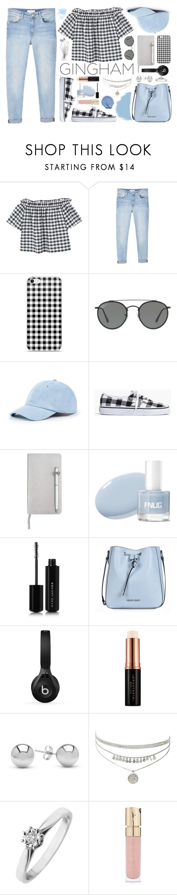 """""""Gingham Style"""" by aprilcastia ❤ liked on Polyvore featuring MANGO, Ray-Ban, Sole Society, Madewell, ICE London, Marc Jacobs, Armani Jeans, Beats by Dr. Dre, Anastasia Beverly Hills and Jewelonfire"""