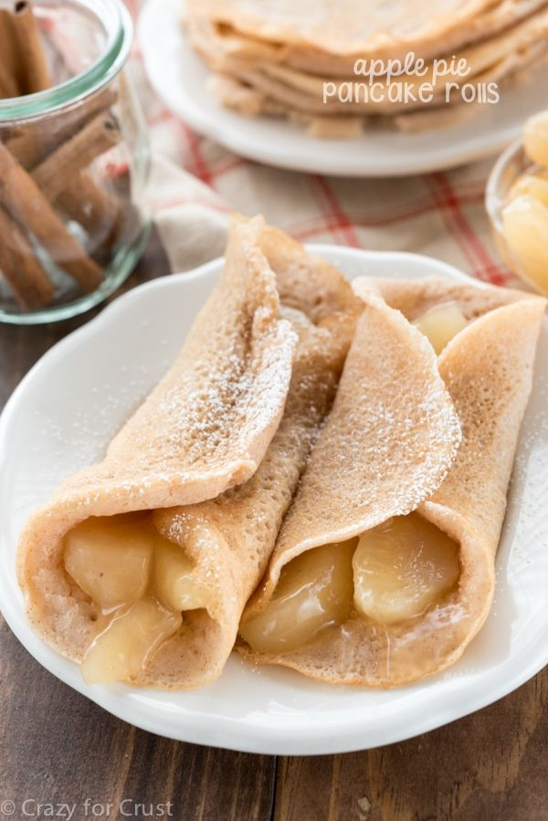 Make Apple Pie Pancake Rolls for breakfast or dinner!! This is an easy pancake recipe that's full of apple and fall flavors.