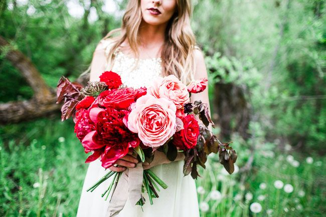 Pink + red garden rose + peony bouquet