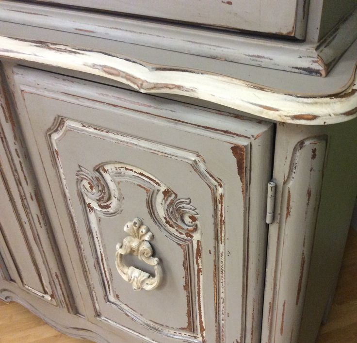 Painted With Grey Limoge And White Ash Farmhouse Paint. Lovingly Sanded And  Aged With Farmhouse Paint Tea Stain Antiquing Gel.